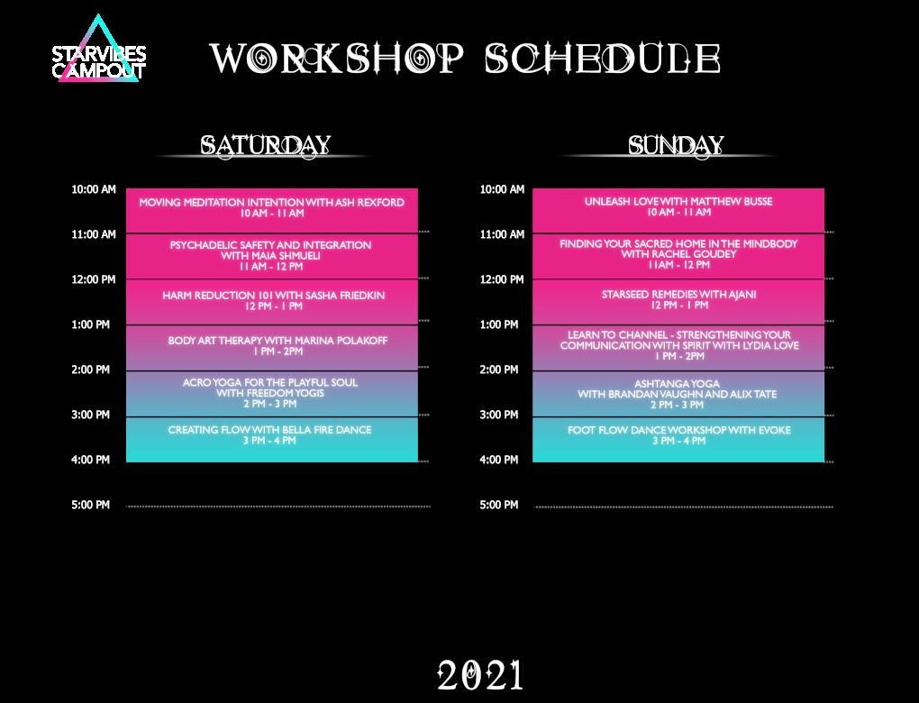 Starvibes Workshop Schedule